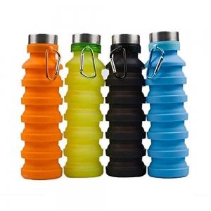 Termo Plegable Silicón Flexible  Botella Vaso Tapa De Acero Inoxidable