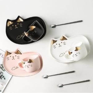 Set Taza de Gato con Cuchara y Plato