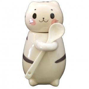 Taza Azucarera En Forma De Gato Con Cuchara Kawaii C