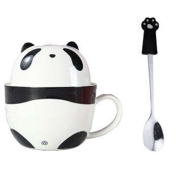 Taza Doble Y Cuchara Panda Pandita Kawaii Regalos