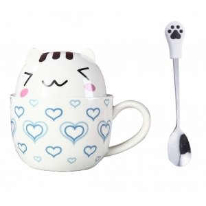 Taza Doble Y Cuchara Gato Gatito Lovely Kawaii Regalos