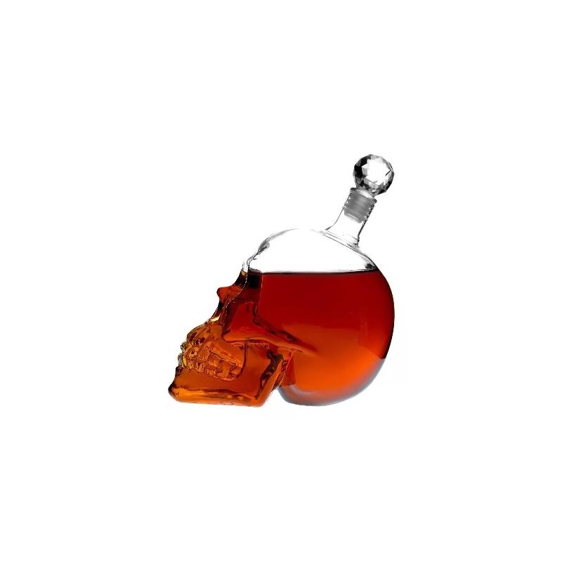 Licorera de Cristal En Forma de Craneo  Calavera con Tapon 1L