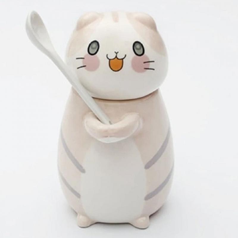 Taza Azucarera En Forma De Gato Con Cuchara Kawaii B