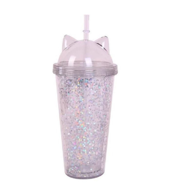 Vaso Acrílico De Doble Capa Con Glitter Orejas de Gato