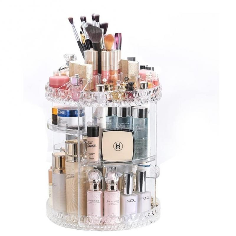 Organizador Cosmetiquera de Acrílico Transparente Giratorio 360°